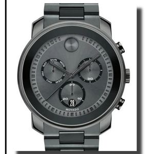 Movado Bold Gunmetal Plated Chronograph Watch